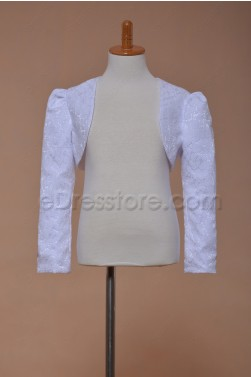 White Lace Bolero First Communion Jacket Long Sleeves